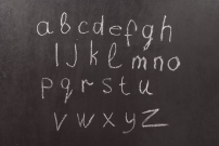Alphabet on a chalkboard